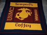 US Marine Corps Blanket Designed and Crocheted byGenia