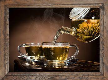 Obraz z zieloną #herbatą w dębowej #ramie. Idealny dodatek do wystroju każdej klasycznej kuchni.
