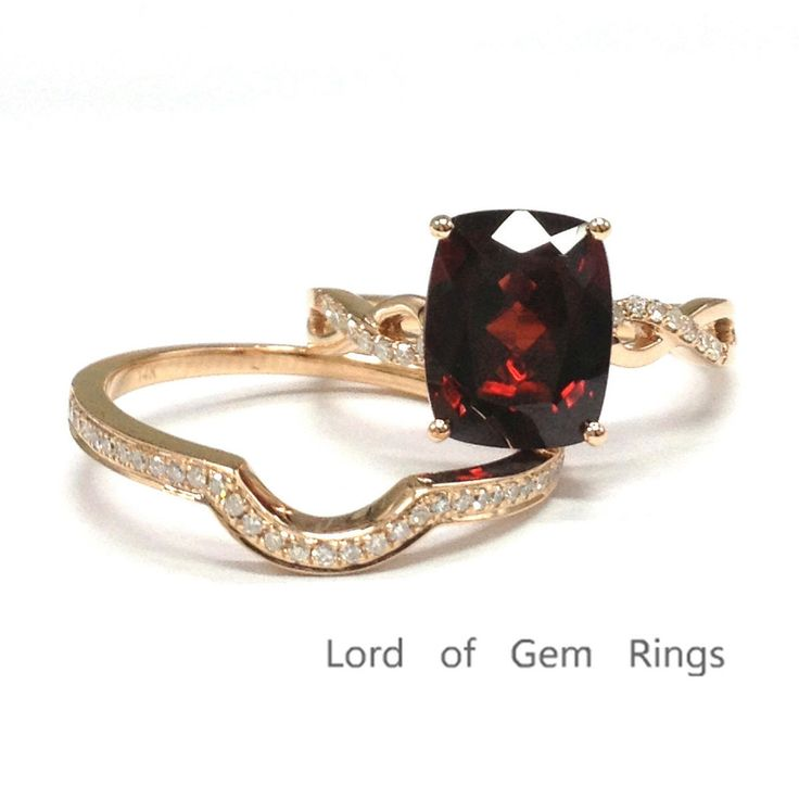 $599 Cushion Garnet Engagement Ring Sets Pave Diamond Wedding 14K Rose Gold 8x10mm Curved Band