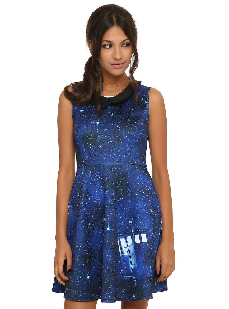 <p>Blue dress from <i>Doctor Who</i> with an allover galaxy sublimation print & TARDIS design with peter pan collar. 3-button back closure.</p>  <ul> 	<li>95% polyester; 5% spandex</li> 	<li>Wash cold; line dry</li> 	<li>Imported</li> 	<li>Listed in junior sizes</li> </ul>