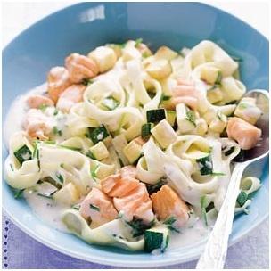 spaghetti, tagliatella of andere pasta  - 1 ui  - klein teentje knoflook   - 1 courgette in blokjes gesneden  - gerookte zalm in blokjes of een bakje zalmsnippers  - roomkaas of creme fraiche   - eventueel bieslook of parmezaanse kaas  - peper en zout  Kook de pasta, fruit het uitje, voeg de courgette toe en laat even meebakken.  vuur laag en voeg de room en de knoflook toe. Als de pasta gaar is voeg je deze bij het roommengsel. Roer op het allerlaatste moment pas de zalmsnippers er…