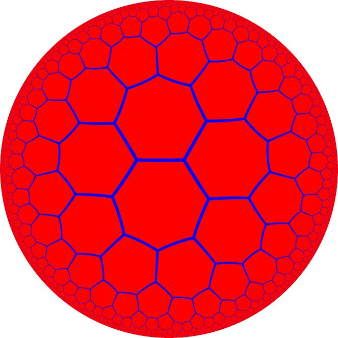 Heptagonal tiling of the Poincaré disk representing the 2D hyperbolic space.