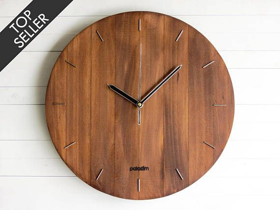 Wooden Round Wall Clock 12 The Oval Modern Contemporary Industrial Style Home And Office Decor Housewarming Gift Unique Wall Clocks Modern Clock Round Wall Clocks
