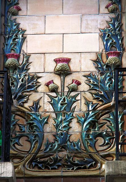 Hector art nouveau interior | art nouveau ceramic details (thistles) in Paris 16th | JV
