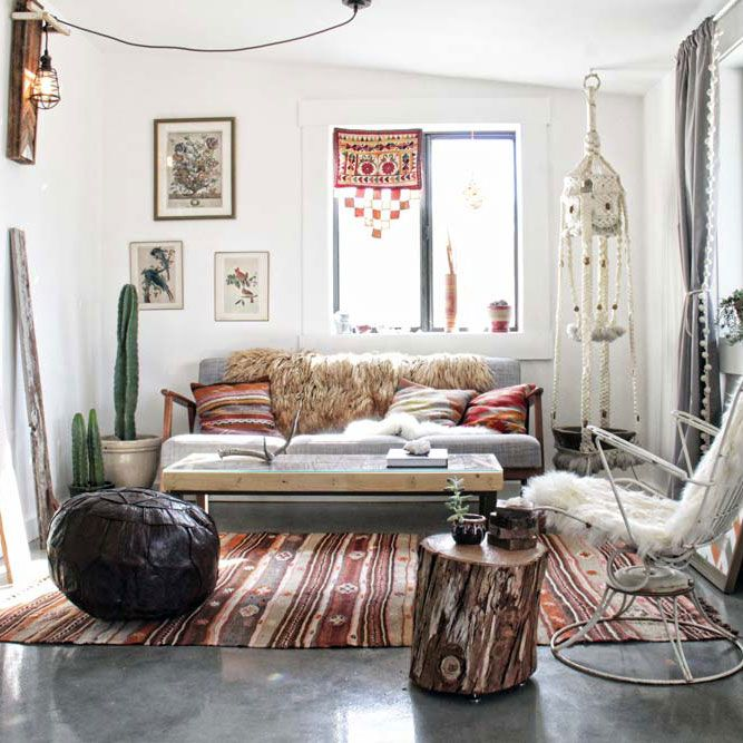 In The Warm Desert Bohemian Living Room Of Their Joshua Tree Cabin, Kathrin  And