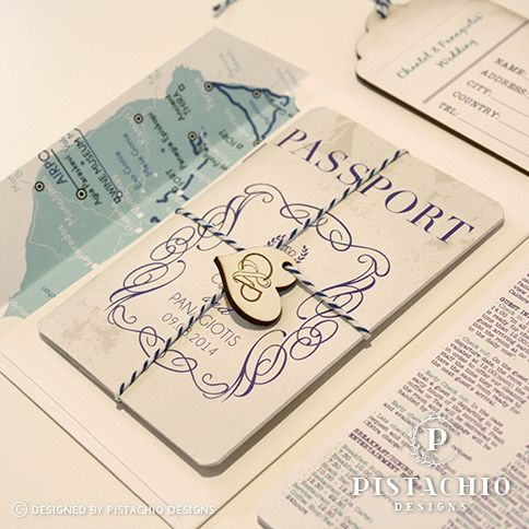 Travel passport wedding invitation with wooden tag made by www.pistachiodesigns.co.za