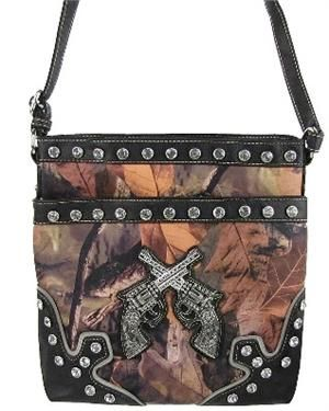 NEW STYLE BLING RHINESTONE CAMO GUN MESSENGER BAG PURSE BLACK