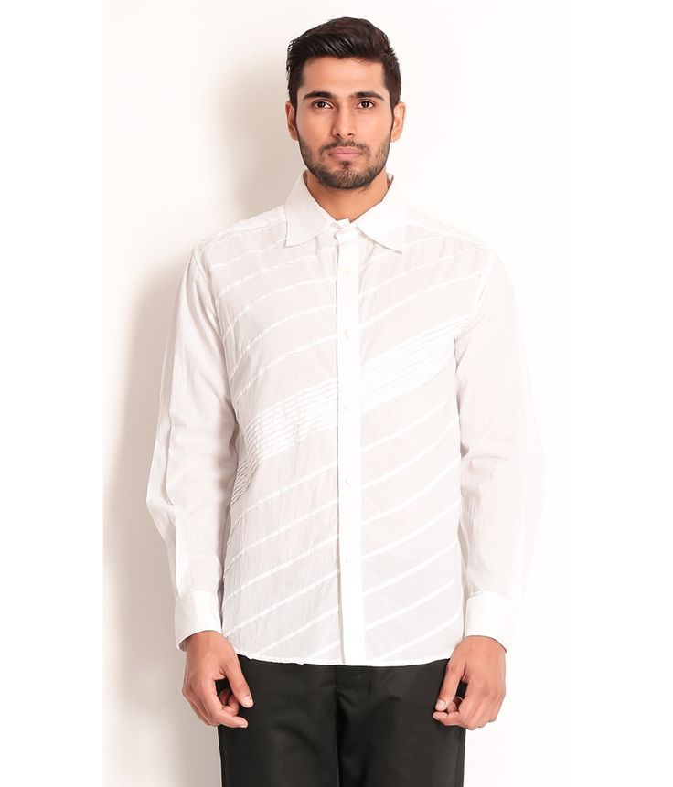 Samant Chauhan Cotton Shirt with Textures, http://www.snapdeal.com/product/designer-wear-white-cotton-shirt/1636313728