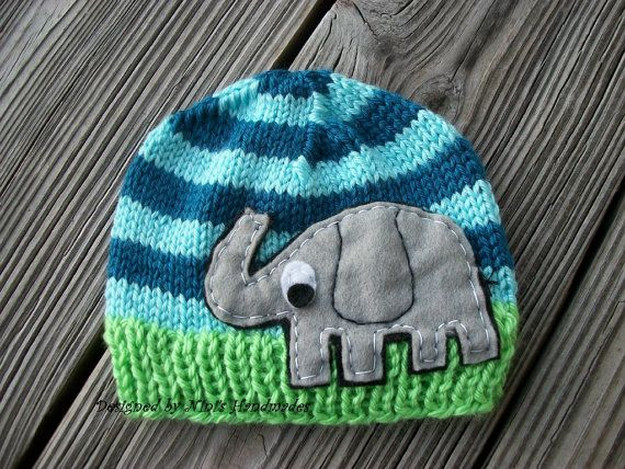 Knit FUNKY ELEPHANT Baby Hat,  Beanie, Newborn photography, Zoo Animal Hat, Safari Hat, Bright colored Hat, Baby Shower gift, christmas gift on Etsy, $25.00
