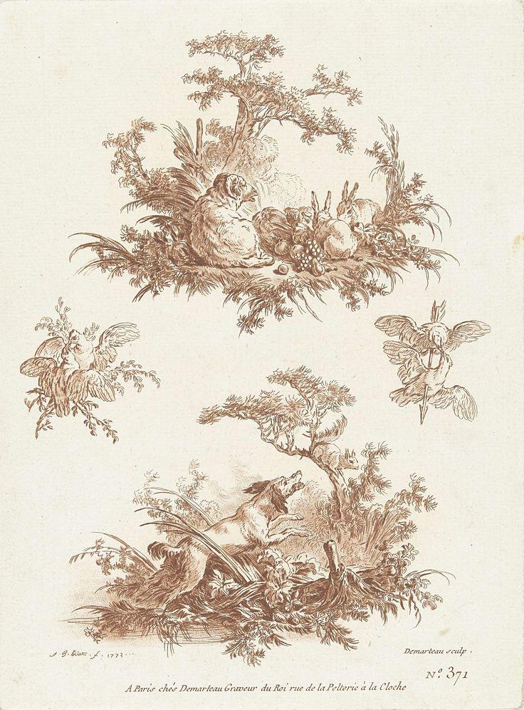 Gilles Demarteau | Twee voorstellingen, boven: ram en konijnen, onder: blaffende hond en eekhoorn, Gilles Demarteau, 1772 - 1776 | Twee voorstellingen, boven: liggende ram en twee konijnen die van vruchten eten, onder: blaffende hond die opspringt naar eekhoorn in boom. Twee kleine voorstellingen met twee tortelduiven, een van de paartjes vogels is doorboord met een pijl.