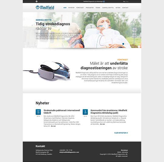 web design for Medfield Diagnostics - made by mkmedia - Gothenburg Sweden