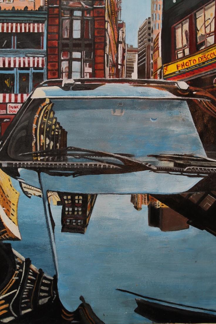 Logan Moffat, 15.  Pastiche of Richard Estes art work.  Materials- acrylic paint