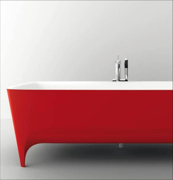 A beautiful cherry red version of #Accademia #freestanding #bathtub A new styling standard, strikingly simple yet at the same time luxurious. #Autoritratti