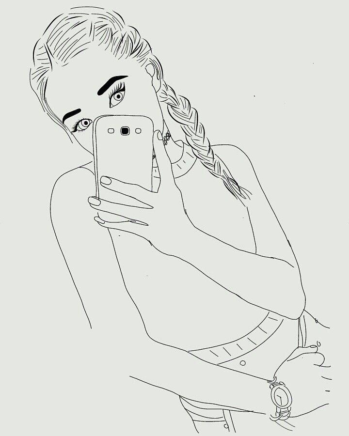 Dessin Noir et Blanc | Outlines, Fille, Samsung, Montre, Tresses collées,  Pas trop de détails mais stylé.
