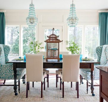 Vintage Dining Room Design With Turquoise White Fabric Wing Back Dining Room  Chair Ideas, Blue Crystal Empire Chandelier, And Decorative Wooden Bird  Cage, ...