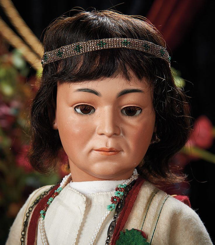 Fine German Bisque Art Character, Model 1303, Portraying Native American by Simon and Halbig in Rare Larger Size. Lot # 85.
