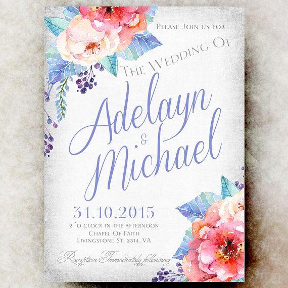Printable Wedding Invitation - Floral wedding invitation, wedding invitation, blue coral wedding invitation, rustic wedding - by DivineGiveDigital