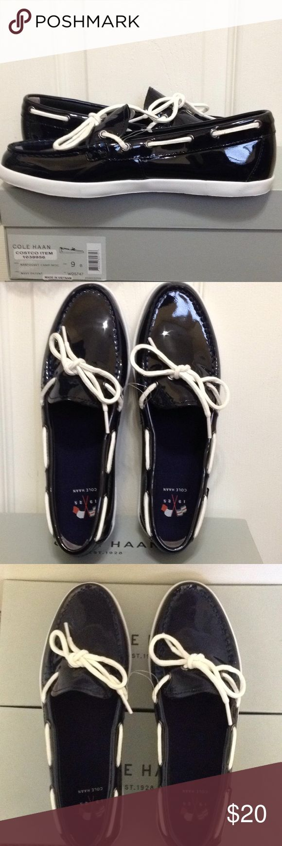 Cole Haan NAntucket Camp Moc Navy Patent Shoes 9B New Cole Haan Nantucket Camp Moc Women's Shoes, Size 9B, Color Navy Patent Cole Haan Shoes Flats & Loafers