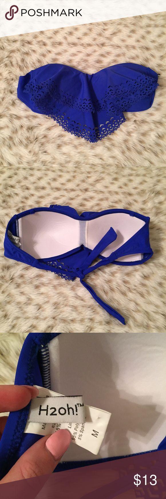 H2oh Royal Blue Laser Cut Out Flowy Bikini Top H2Oh Laser Cut Out royal blue Strapless Flowy bikini top! Padded! Size medium! Like new condition! So cute! H2oh Swim Bikinis