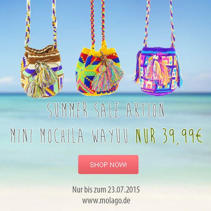 Summer Sale Aktion - Nur bis zum 23.07.2015 gibt es die handgemachte Mini Mochila zum Sparpreis von nur 39,99€. Finde jetzt deine Lieblings-Tasche auf: http://www.molago.de/Mochilas/Mochila-mini/  #Summersale #Sale #Rabattaktion #Mochila #Wayuu #Mochilas #Colombia #Kolumbien #Molago #Fashion #tasche #Bag #Bags #Mode #handgemacht #handmade