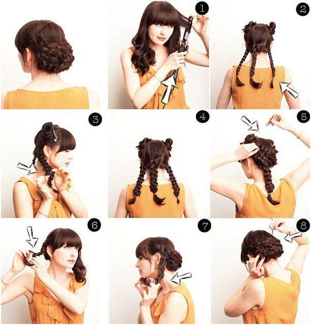 Элегантный плетеный низкий пучок.  Накручиваем волосы для того, чтобы причёска была объёмной. Делим волосы на пять равных частей. Чтобы пряди сбоку не мешали, закалываем их. Три оставшиеся пряди заплетаем в косички и делаем их пушистее с помощью пальцев. Закалываем косы (шаг 5). Распускаем боковые пучки и заплетаем их в косички. Закалываем их над остальными косами и прячем хвостики в центр причёски.