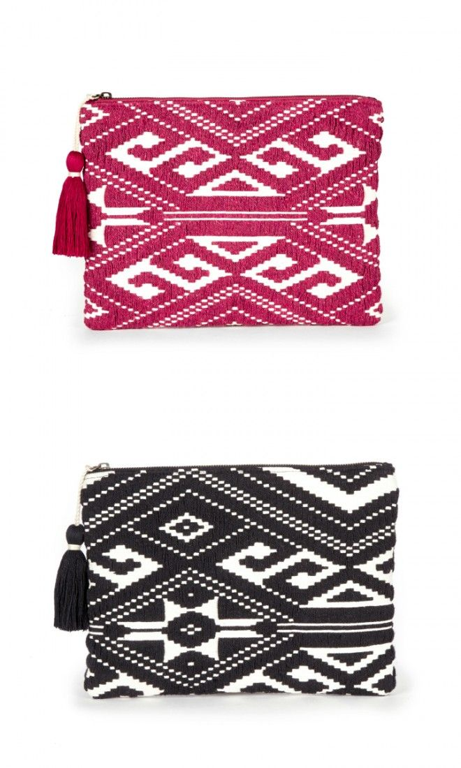 Red and black tribal-inspired woven fabric clutch with a yarn tassel