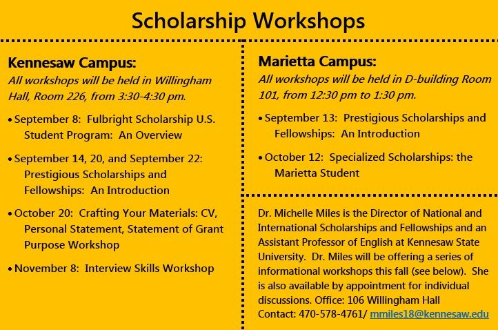 Join us for Dr. Miles' workshops on national and international scholarships and fellowships!