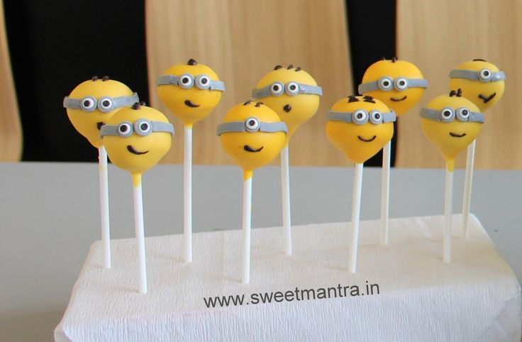 Homemade Eggless 3D customized, personalized, handcrafted, designer, fondant Minions theme birthday Cake Pops for boy at Balewadi, Pune
