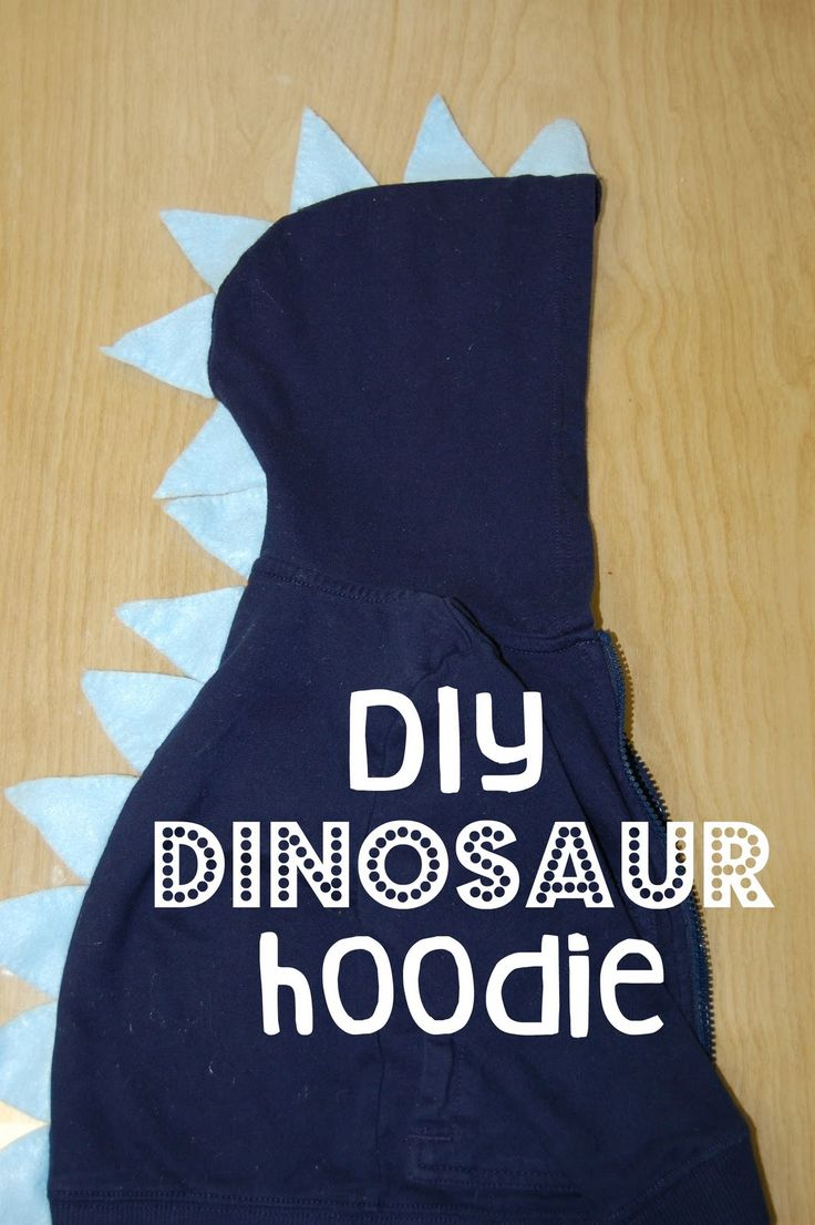 DIY kid's dinosaur sweatshirt...fun for the birthday boy at a dinosaur party, or as favors if you can find really cheap hoodies somewhere