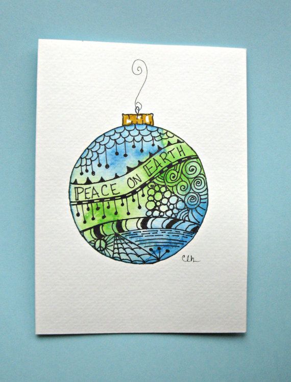 Watercolor card, ( No.504), Christmas ornament, greeting card, Christmas, ornament, holiday, original art,blank inside