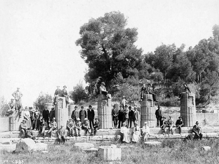 Ολυμπία, 1901, περιηγητές στο Ηραίον, [από το ταξίδι του Konrad Hustaedt στην Πελοπόννησο].