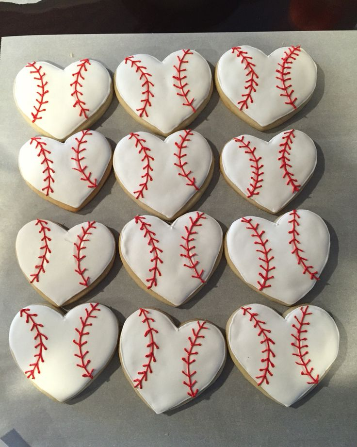Heart baseball cookies