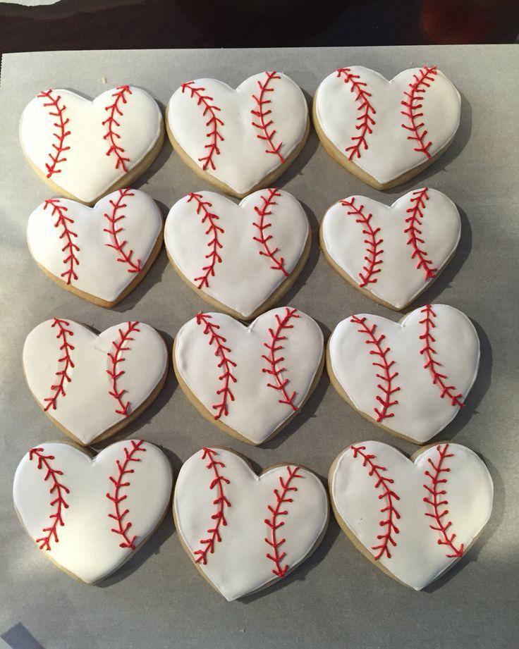 Heart baseball cookies