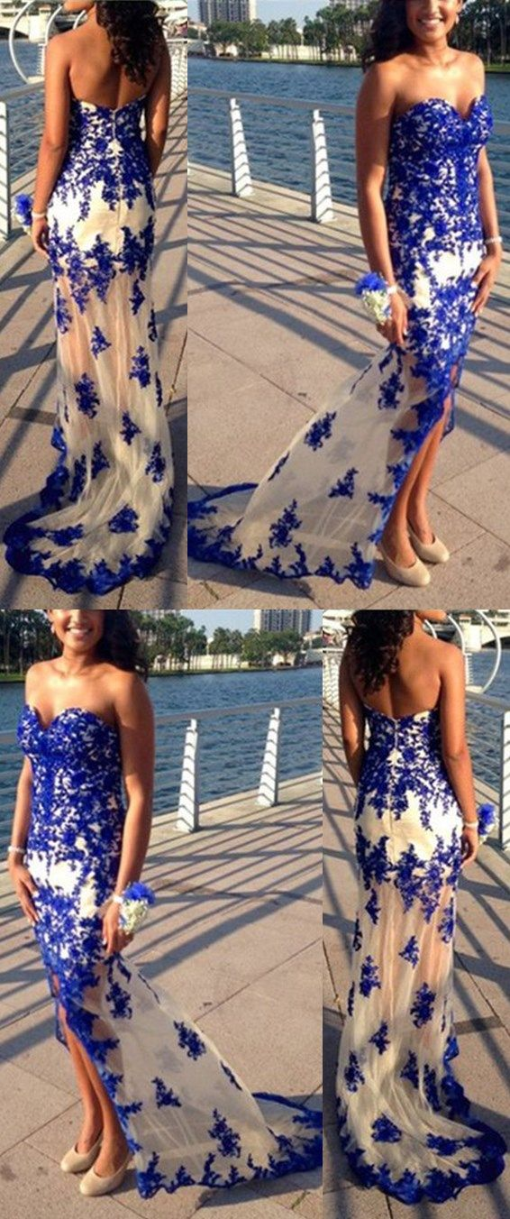 Charming Prom Dress,Sweetheart Prom Dress,Appliques Prom Dress,Mermaid Evening Dress