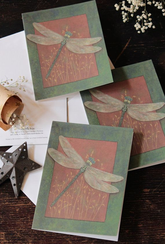 Dragonfly Art Greeting Card 5 x 7 Painting Eco by CaraMiaBella, $4.00