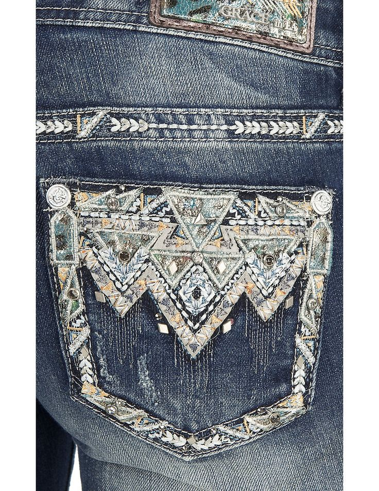 Grace in LA Women's Faded Medium Wash with Aztec Embroidery and Rhinestone Embellishments Open Pocket Boot Cut Jeans | Cavender's