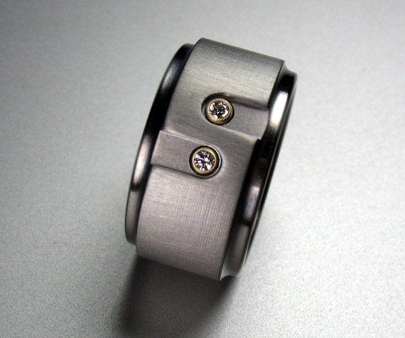 You & Me Diamond Titanium Ring by spexton on Etsy