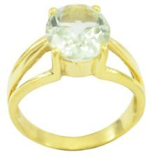 Green Amethyst Gold Plated Ring inviting Green gemstones AU gift