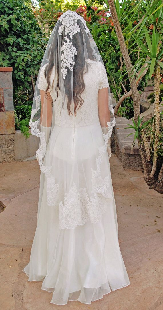 Wedding Veil - Alencon Lace Mantilla Wedding Veil - Spanish Style Veil - Bridal Veil - Valletta on Etsy, $350.00