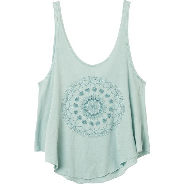 Skull Mandala T Shirt RVCA ($25) ❤ liked on Polyvore featuring tops, t-shirts, loose tops, pigment dyed t shirts, green jersey, green top and jersey top