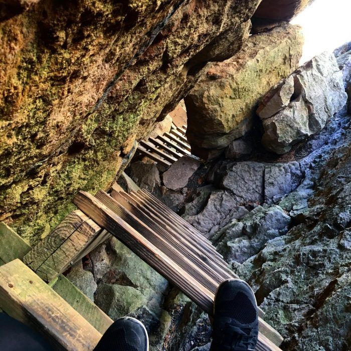 2. Put your claustrophobic fears to the test on the Labyrinth Trail, where you'll scramble through tight spaces to make your way to the unbelievable Skytop Tower. Did we mention this trail is commonly called the Lemon Squeeze?
