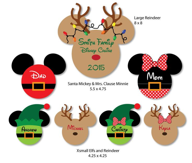 Rudolph Reindeer Family Christmas Mouse Head Magnets for Disney Cruise Stateroom Decoration by plumeriaprints on Etsy
