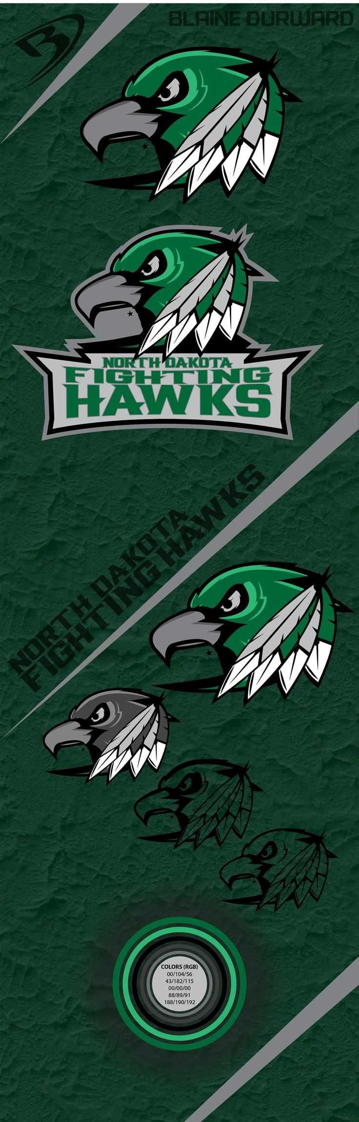 Probably the best one I've seen! The University of North Dakota Fighting Hawks logo designed by a University of North Dakota student.