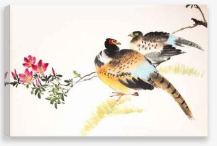 Canvas Wall Art – Pheasants Drawing