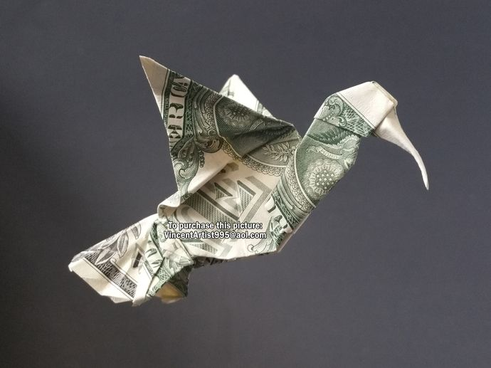 HUMMINGBIRD Money Origami Dollar Bill Animal Bird Cash Sculptors Bank Note Handmade