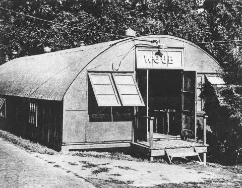 "WOUB quonset hut on College Green, 1940s.  WOUB - ""We're Ohio University Broadcasting"" - began in 1942 as a student-run public address system :: Ohio University Archives"