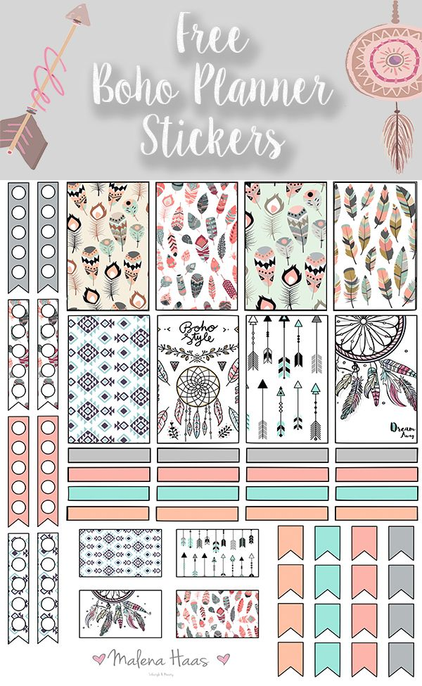 Malena Haas: ❤FREEBIE Friday❤ Boho Chic Printable Planner Stickers