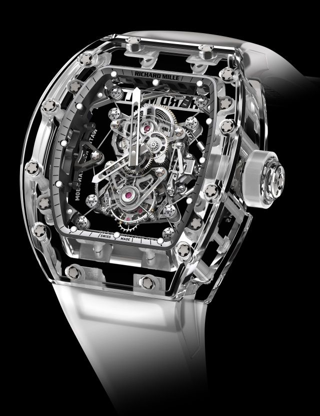 Richard Mille- RM56-02, 2014 Sapphire Watch. The latest RM56 model with transparent sapphire crystal case and complex tourbillon-based movement suspended on a tiny cable system to protect against shock.