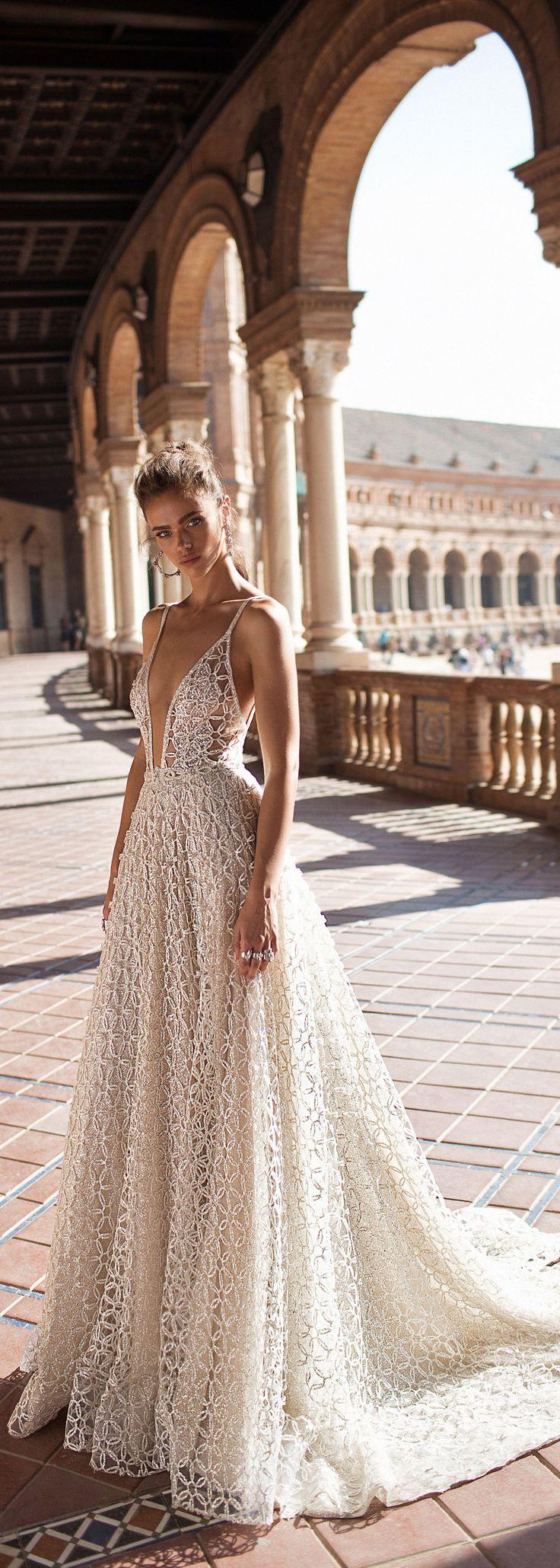 A beautiful v-neck wedding dress by @bertabridal from their BERTA Seville collection #bertabridal #berta #weddinggowns