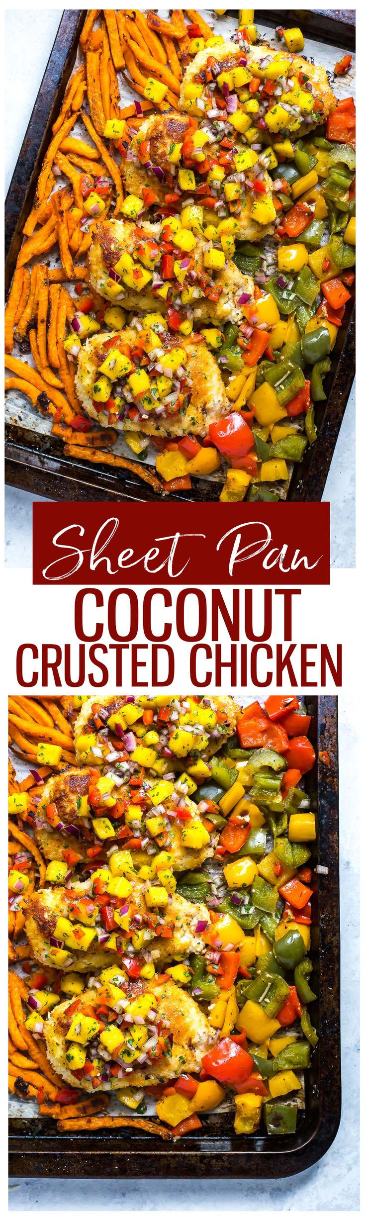This Sheet Pan Coconut Crusted Chicken with mango salsa, bell peppers and sweet potato fries is the perfect dinner solution after a busy workday – and you can take the leftovers for lunch!